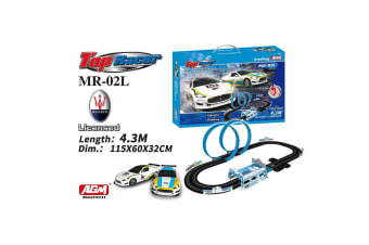 AGM Top Racer 1:64 Maserati Slot Car Set with Twin Loops