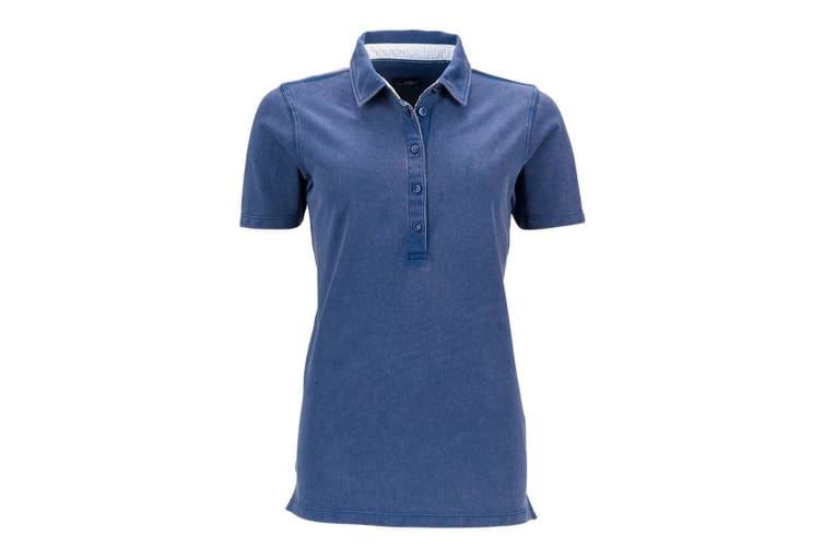 James and Nicholson Womens/Ladies Short Sleeve Polo (Navy/White) (S)