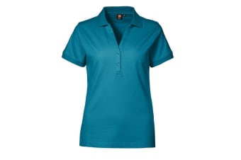 ID Womens/Ladies V-Placket Fitted Short Sleeve Pique Polo Shirt (Turquoise) (M)
