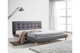 King Linen Fabric Deluxe Bed Frame Grey