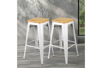 Artiss 2 x Tolix Replica Bar Stools Metal Bar Stool Chair Bamboo Seat 66cm WHITE