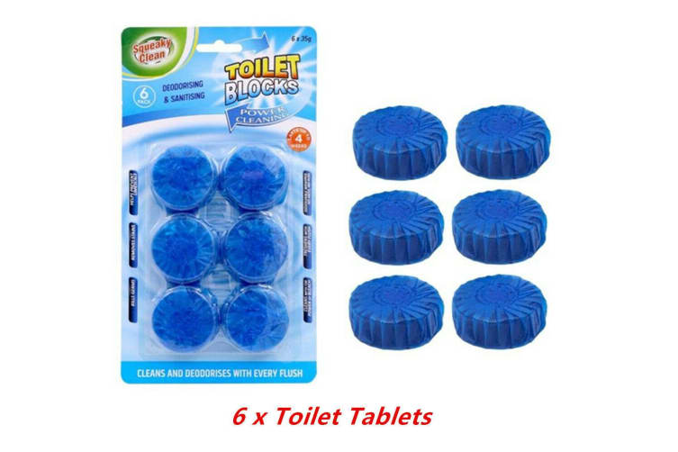 6 x Blue Toilet Tablet Deodorizer Flush Anti Bacterial Cleaner Stain Remover Blocks