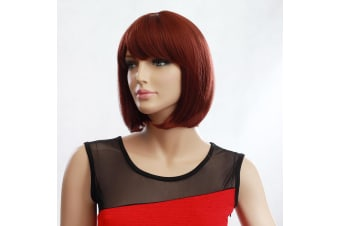 Womens Short 30cm Straight Synthetic BOB Wigs w Side Bangs Cosplay Costume Party - Brown
