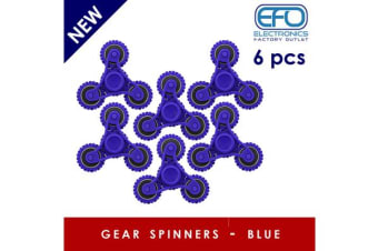 6Pc 6X 3D Hand Spinner Fidget Toy Gear Style Stress Reliever Fast Bearing Spin Blue