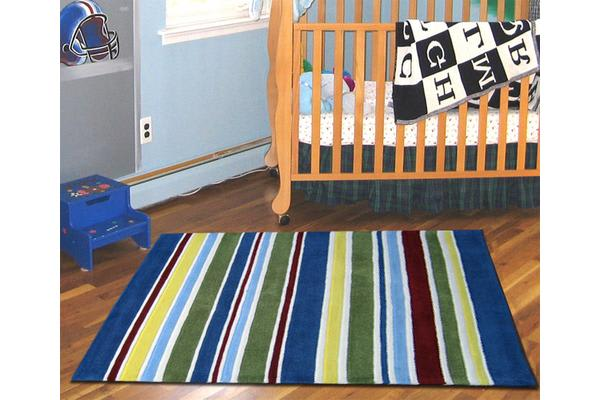 Primary Coloured Stripes Children's Rug 165x115cm