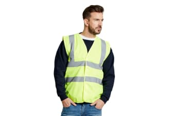 Ultimate Everyday Apparel Mens UCC 4 Band Safety Waistcoat (Hi-Vis Yellow) (M)