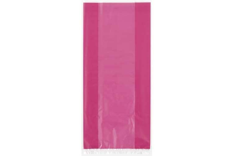 Unique Party Cello Treat Bags With Ties (Pack Of 30) (Hot Pink) (One Size)