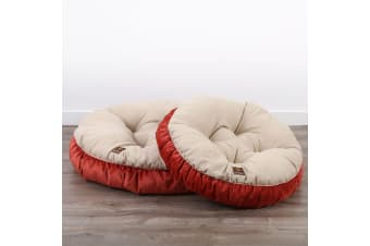 Pet Round Bed Cushion M - Cream/Orange