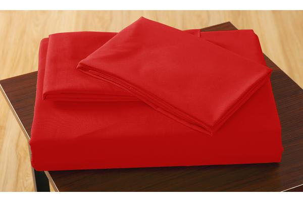 Polyester 3 Piece Bed Fitted Sheet + Pillowcase Queen Red