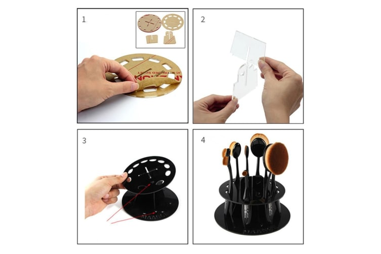 Cosmetic Brush 10-Hole Airing Bracket Removable Straight Plate Circular Red Straight Board