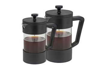 2PK Avanti 600ml & 1L Sorrento Coffee Plunger Stainless Steel Glass Coffee Maker