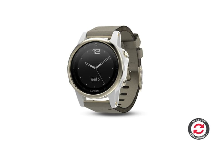 Refurbished Garmin Fenix 5S Sapphire Edition Champagne with Grey Suede Band