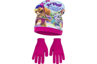 Paw Patrol Childrens Girls Girl Pup Power Winter Hat And Gloves Set (Pink)