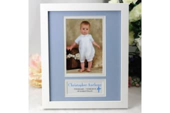Baby Boy Christening Photo Frame 4x6 White Wood