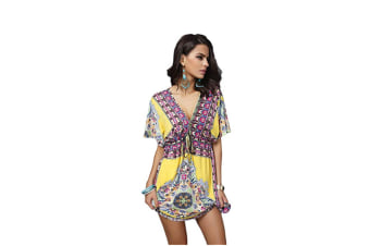 Women'S Deep V-Neck Bohemian Floral Print Beach Dress - Yellow Yellow