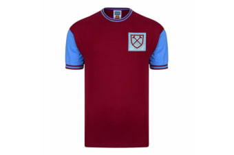 West Ham United FC Mens Official 1966 No 6 Replica Shirt (Claret/Aqua) (M)