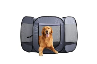 PawZ 8 Panel Pet Dog Playpen Exercise Cage Puppy Enclosure Fence Play Pen S Grey