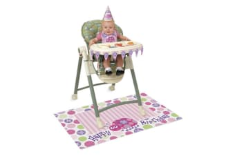 Unique Party 1st Birthday High Chair Kit With Ladybug Design (Pink/Green/Purple) (One Size)