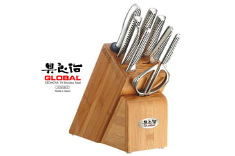 New GLOBAL TAKASHI 10 Piece Knife Block Set Made in Japan 10pc Kitchen Knives