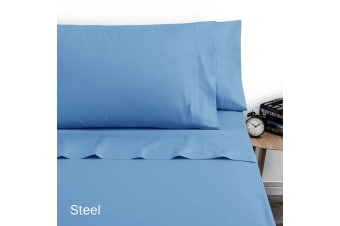 250TC Polyester Cotton Sheet Set Double Steel by Artex