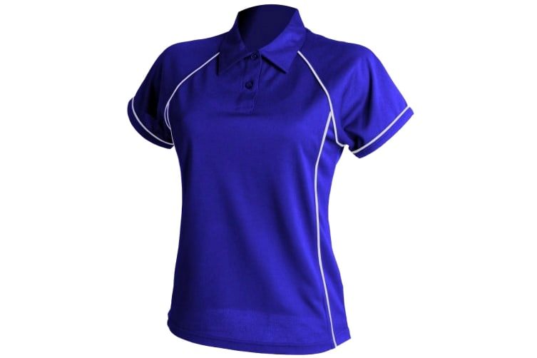 Finden & Hales Womens Coolplus Piped Sports Polo Shirt (Royal/White) (L)
