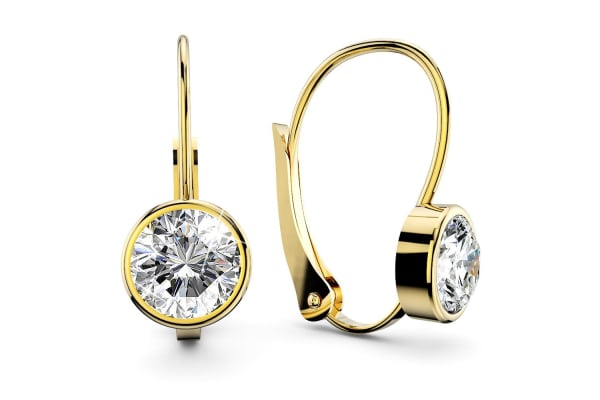 Audrey Lever Back Earrings 8mm w/Swarovski Crystals-Gold/Clear