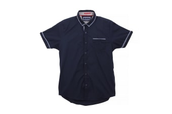 Brave Soul Mens Colvin Short Sleeve Shirt With Contrast Check Detail (Navy) (S)