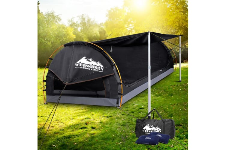 Double Swag Camping Swags Canvas Free Standing Dome Tent Bag Grey