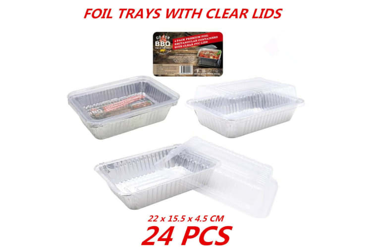 24 x Aluminum Foil Trays BBQ Disposable Roasting Takeaway Oven Baking Party Clear Lid