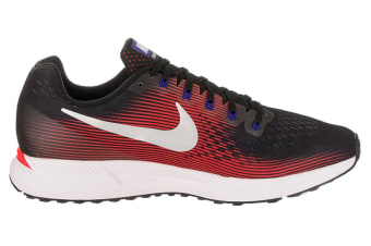 Nike Men's Air Zoom Pegasus 34 Shoe (Black/Bright Crimson/Concord, Size 9)