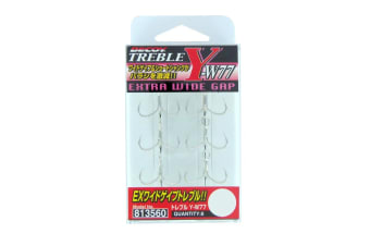 6 Pack of Size 6 Decoy Y-W77 Extra Wide Gap Treble Fishing Hooks -Japanese Made Trebles