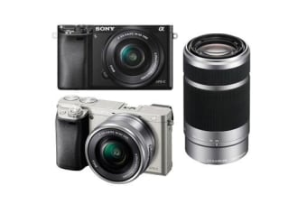 New Sony Alpha A6000 (16-50mm) (55-210mm) Kit Digital SLR Cameras Silver (FREE DELIVERY + 1 YEAR AU WARRANTY)
