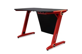 OVERDRIVE Gaming Desk 120cm  Computer Black PC Red LED Lights Carbon Fiber Look