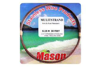 30ft Coil of 210lb Mason Multistrand Stainless Steel Wire Fishing Leader