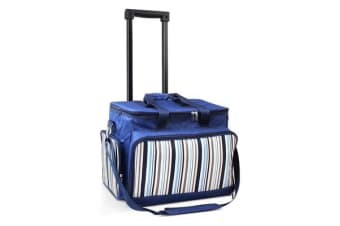 6 Person Picnic Bag Trolley Set (Blue)