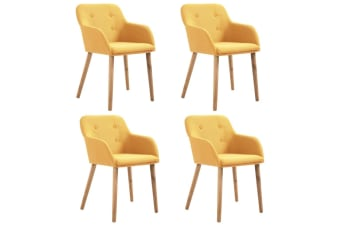 vidaXL Dining Chairs 4 pcs Yellow Fabric and Solid Oak Wood