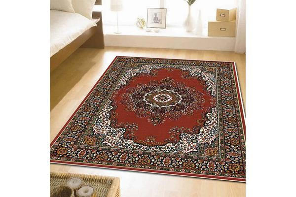 Traditional Pattern Medallion Rug Red 280x190cm