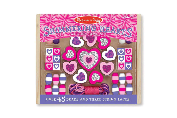 Melissa and Doug Wooden Shimmering Hearts Bead Set
