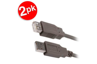 2x Sansai 1.8m Extension 2.0 USB A Male to A Female Cable for Printer/Scanner/PC