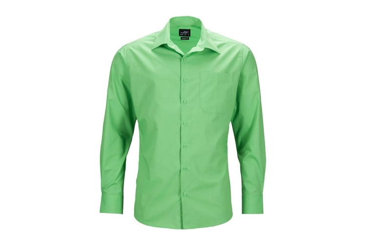 James and Nicholson Mens Longsleeve Business Shirt (Lime Green) (S)