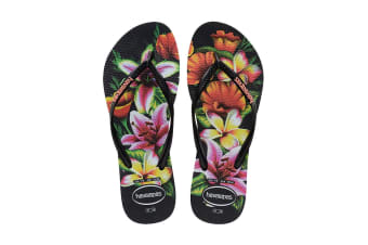 Havaianas Slim Floral Thongs (Black/Black)