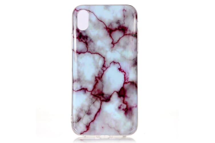 For iPhone XS & X Case Red Marble Pattern Soft TPU Shockproof Back Shell Cover