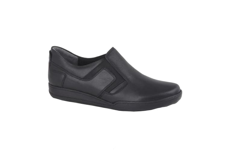Mod Comfys Womens/Ladies Leather Twin Gusset Casual Shoe (Black) (4 UK)
