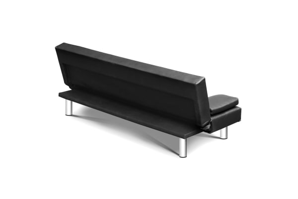 3-seater PU Leather Sofa Bed (Black)