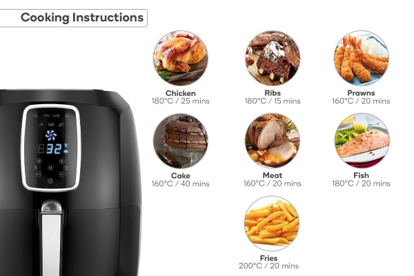 Kogan 5.2L Digital Low Fat 1800W Air Fryer