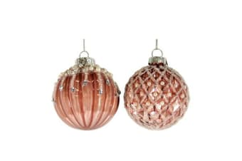 Casa Regalo Jewelled Glass Ball Hanging Decoration 6cm Pink Assorted Designs