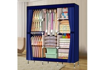 Large Portable Clothes Closet 3 rack in vy Blue