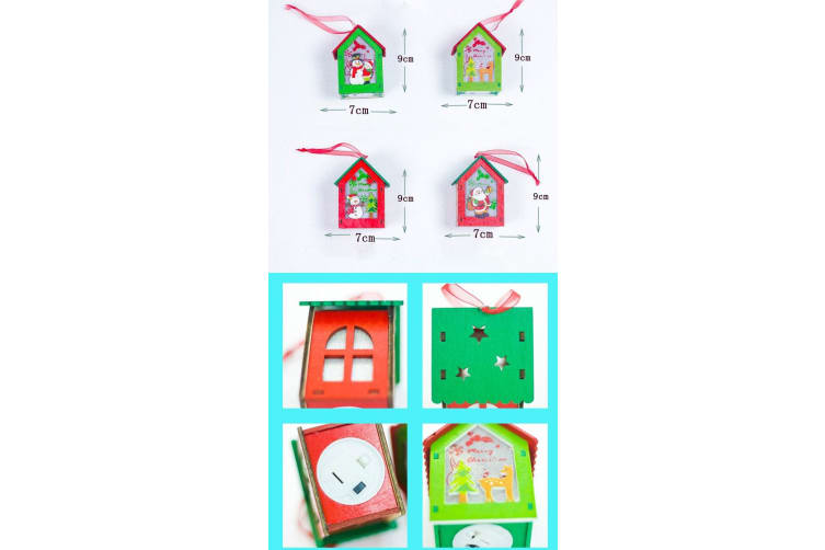 3x Christmas Wooden Tree LED Light Up House Lamp Lantern Hanging Ornaments Décor - Mixed Design
