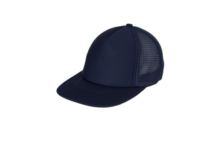 Myrtle Beach Adults Unisex 5 Panel Soft Mesh Flat Peak Cap (Navy) (One Size)