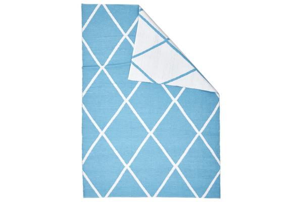Coastal Indoor Out door Rug Diamond Turquoise White 270x180cm